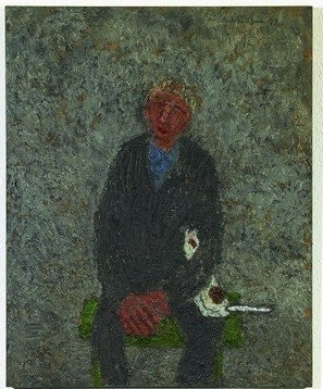 """Aksel Jensen (1914-2005), """"Mand og hund"""", 1999"""