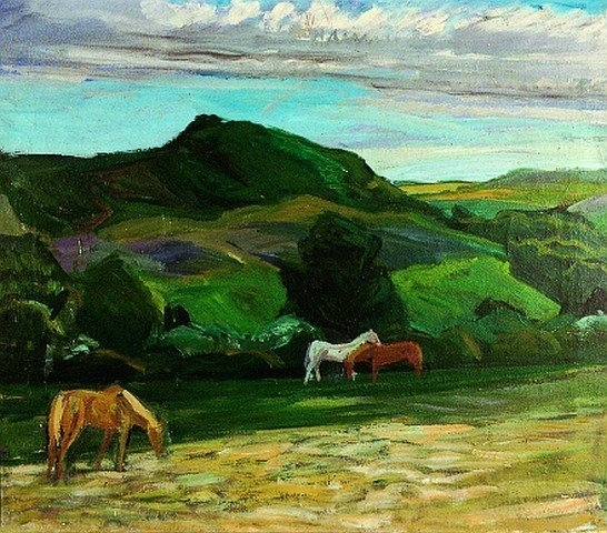 "Alfred Simonsen (1906-1935), ""Heste i Brænde Ådal"", 1934"