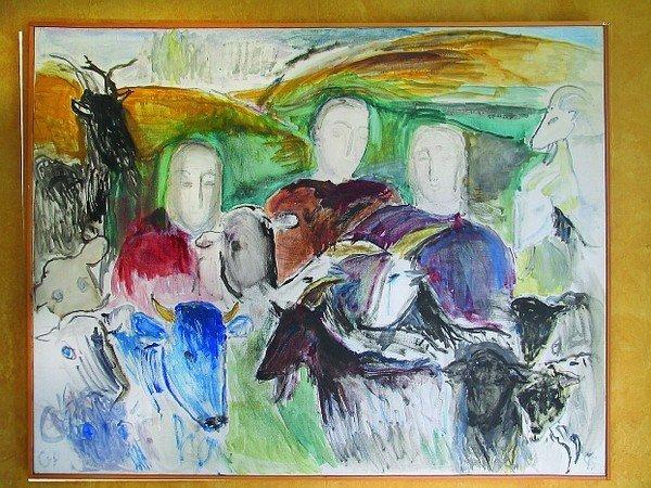 """Gudrun Poulsen (1918-1999), """"Hyrder mellem dyrene"""", 1995"""