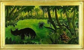 """Hans Scherfig (1905-1970), """"Næsehorn og par i junglen"""", 1946"""